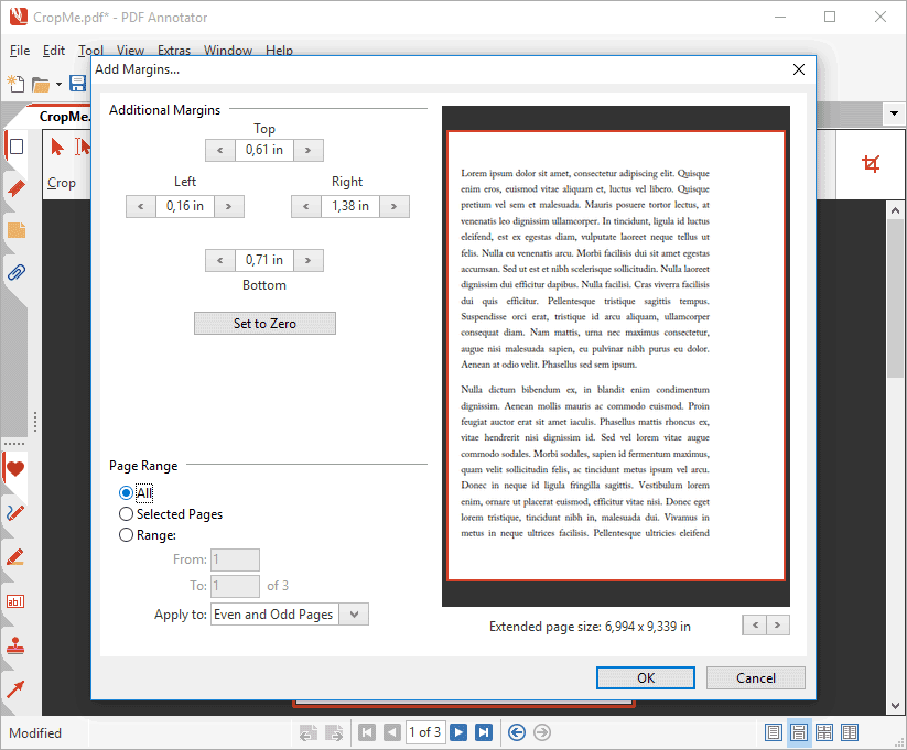 add margins to pdf document