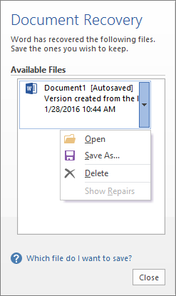 how to get deleted documents back on word document