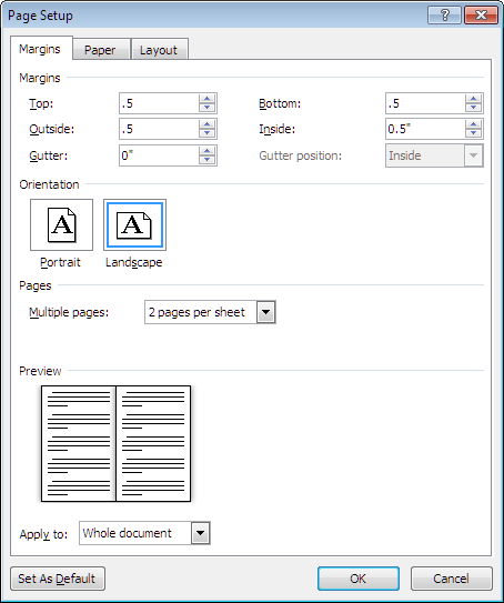 how to print an a4 document to a5