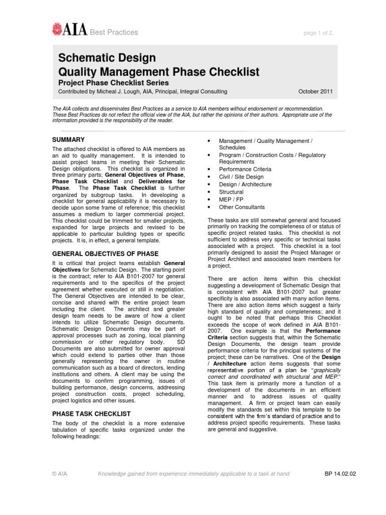 construction document quality management phase checklist
