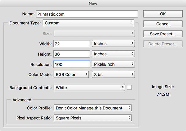 when to use phtoshop large document format
