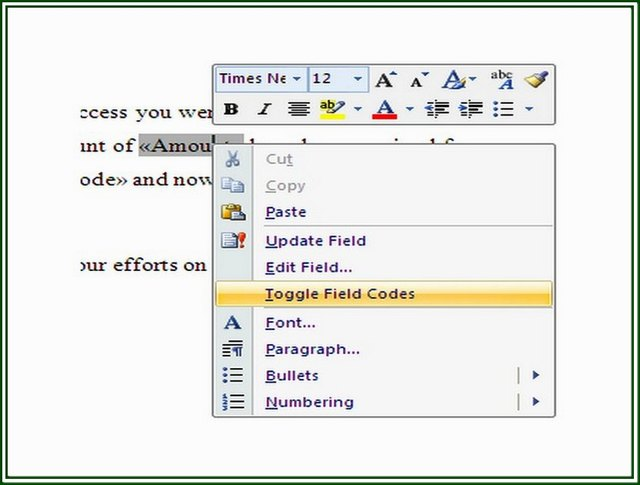 what are field codes in a word document