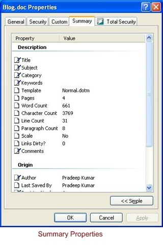 edit document properties in word 2010