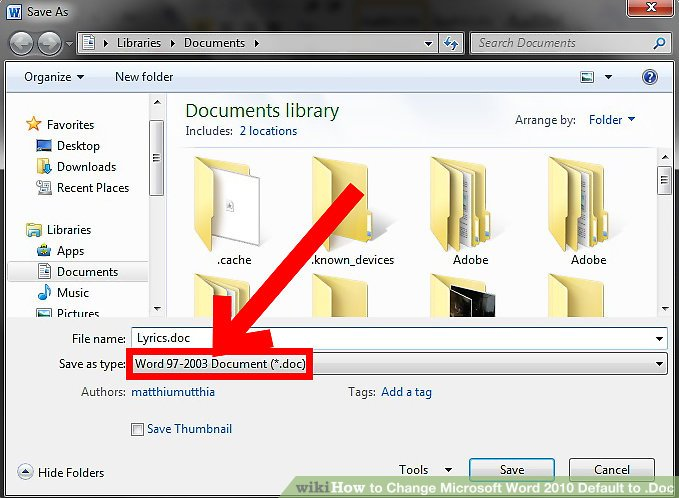 word 2010 change default document setup