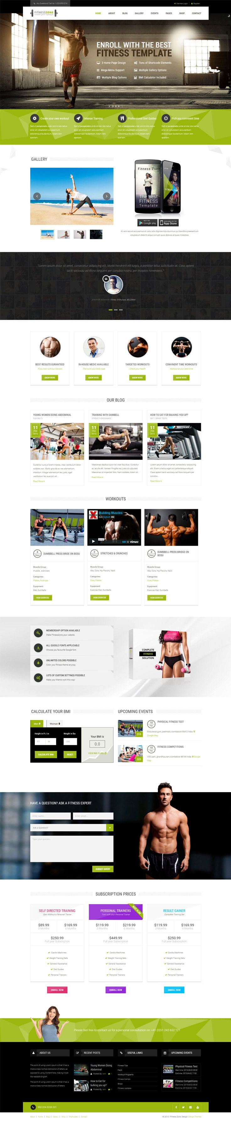 fitness zone theme documentation