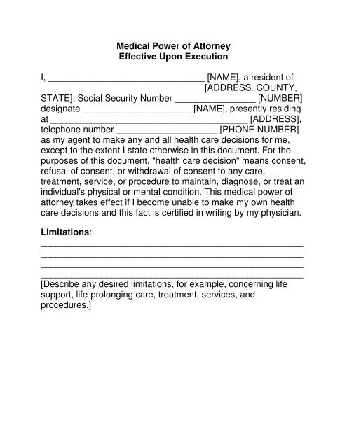 medical power of attorney document