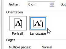 change orientation of one page in word document