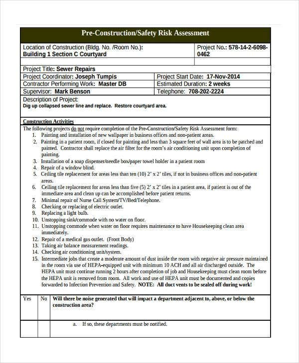 project risk assessment document template