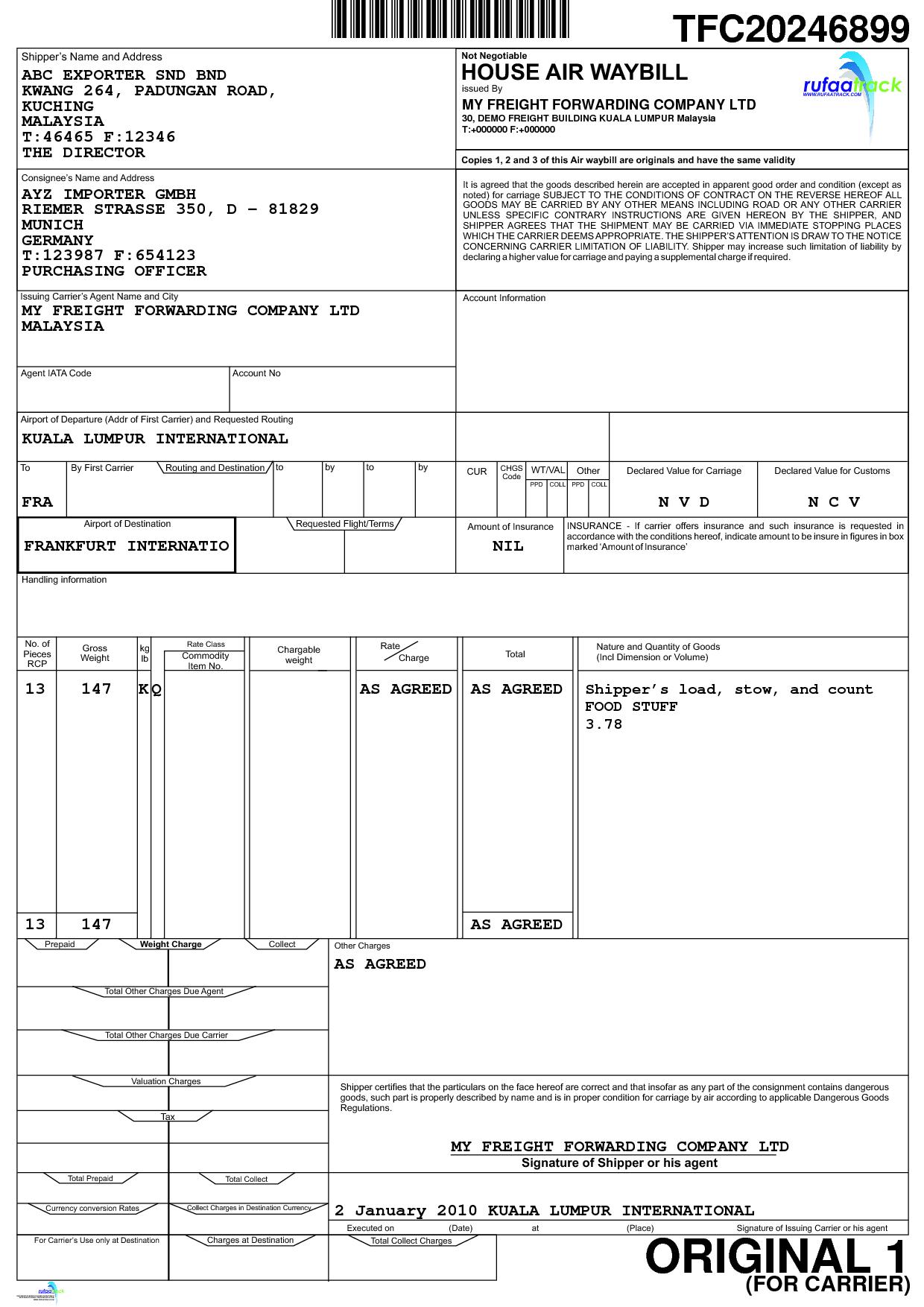 dangerous goods shipping document template