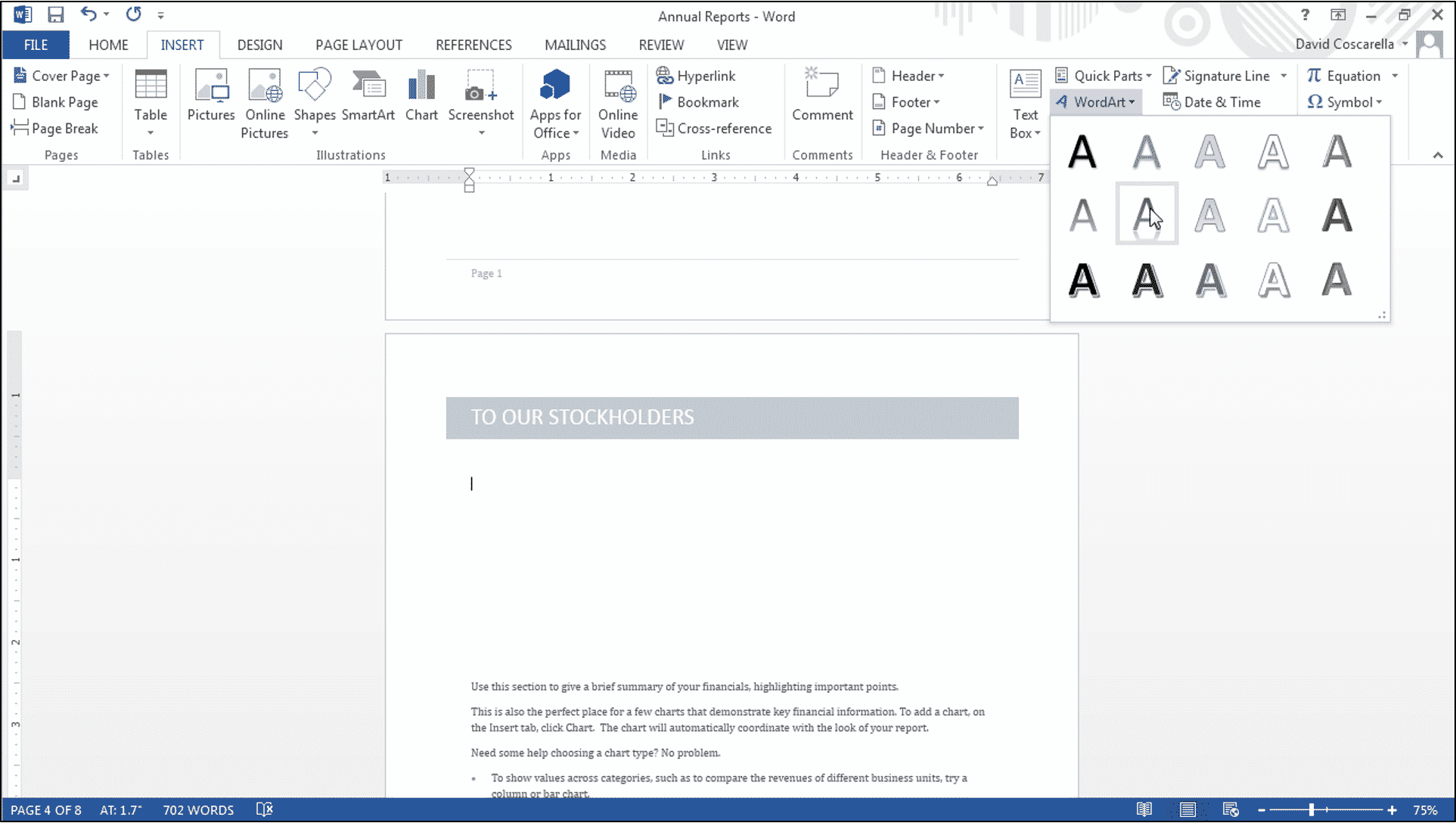 display the help document insert wordart