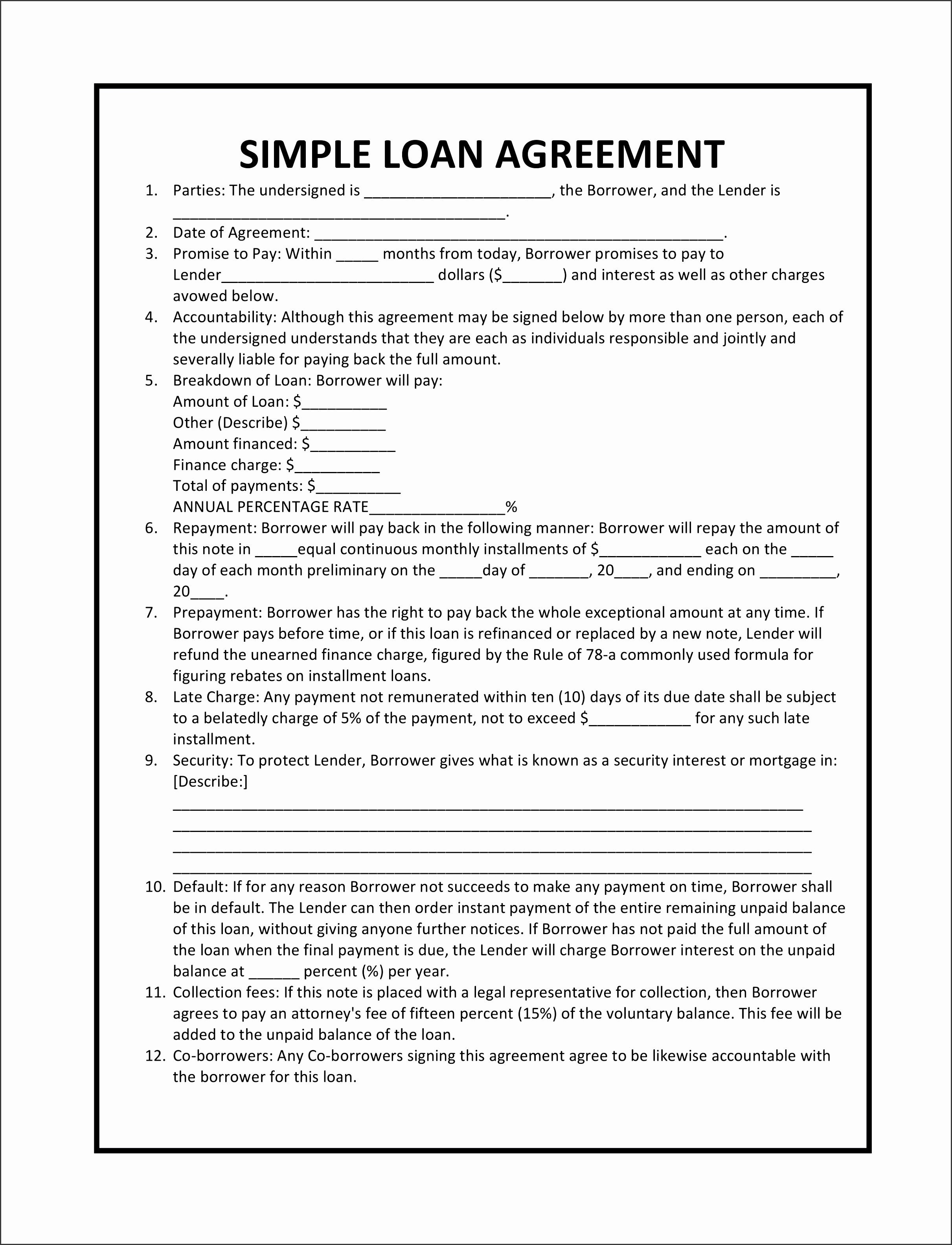 free loan document template australia