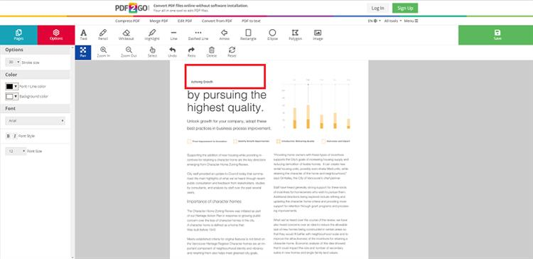 how to change the size of a pdf document