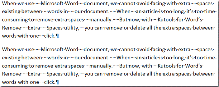 how to remove spaces at the end of word document
