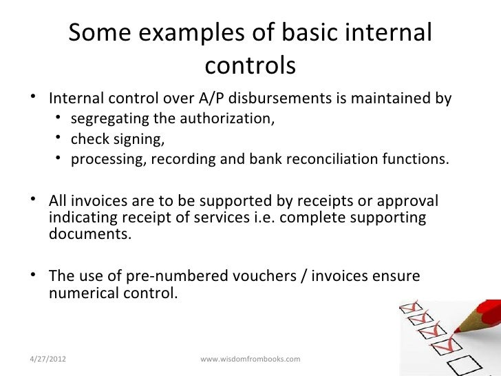 internal control documentation examples