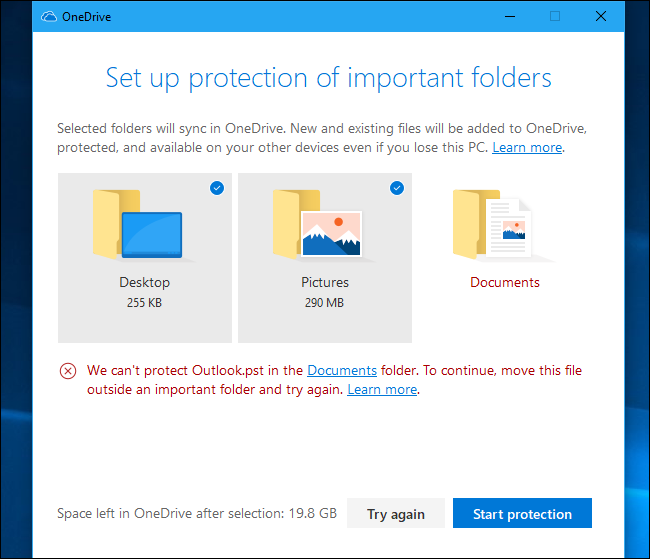 onedrive pops up when i save a document